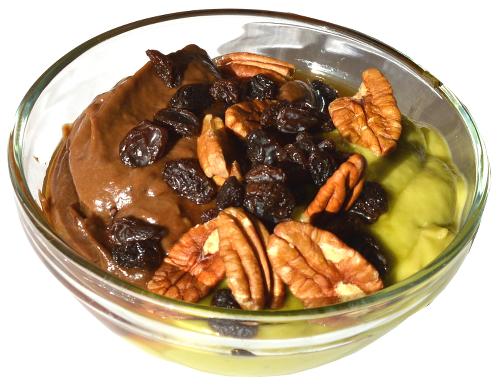 budyń, dessert, miód, honey, raisin, orzechy, rodzynki, śniadanie przepisy, awokado przepisy, avocado, zdrowe przepisy,